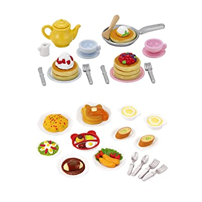 2 Play Food Sets Together - Lunch Set & Fluffy Pancake Sets (Japan Import): Toys & Games