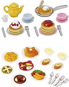 2 Play Food Sets Together - Lunch Set & Fluffy Pancake Sets (Japan Import)