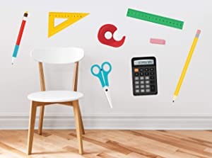 School Supplies Fabric Wall Decals - Set of 8 with Ruler, Scissors, Calculator, Pencil, Pen, Eraser, Triangle, Tape Dispenser - Removable, Reusable, Respositionable