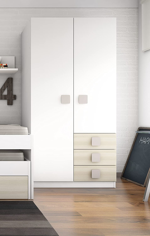 Armario ropero blanco con 3 cajones color haya para habitación ...