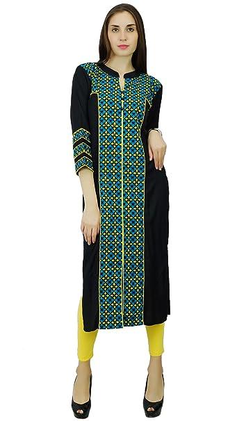 Phagun Bollywood Kurti diseñador rayón y algodón vestido de la túnica étnico