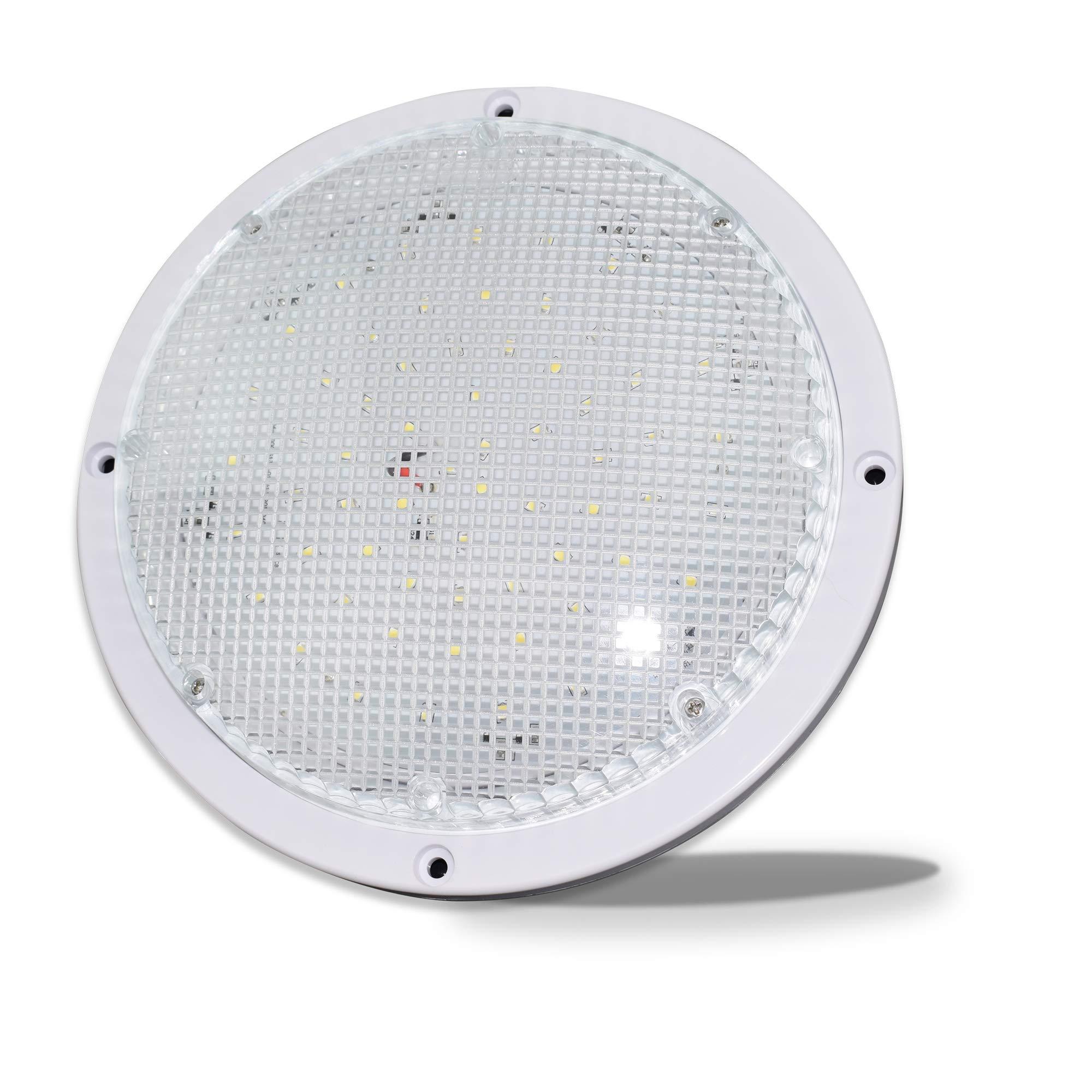 RV Trailer Camper 1000 Lumen 5th Wheel White 8.5'' Round Scare Porch 12V LED Light (LED Light 1000 Lumen) by Leisure LED