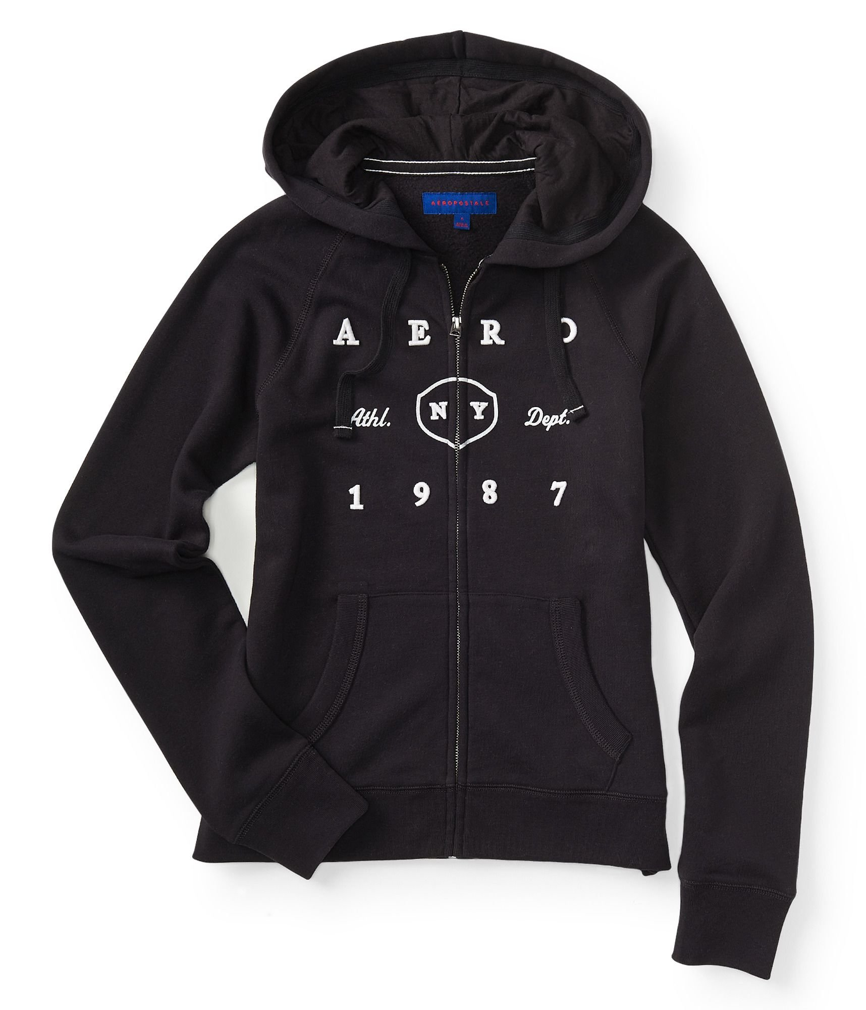 Aéropostale Girl's Full-Zip Hoodie (Black 1511, M)