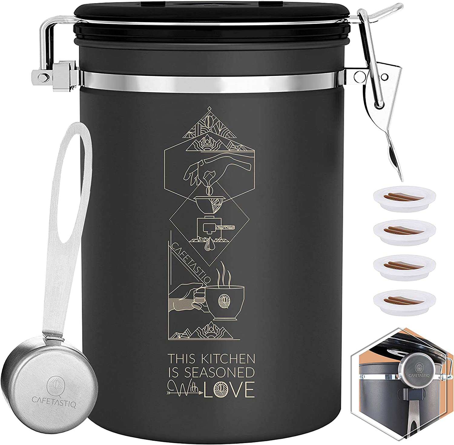 CafetastiQ Coffee Canister - Large 22oz Airtight Coffee Container for Storage with Date Dial and Release Valve - Accessories Scoop (Seasoned with Love)