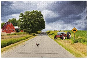 """1000 Pieces Jigsaw Puzzles,Rural Decor,Farmhouse On Country Road With Barn And Tractor On Side In Stormy Day Picture,Family Puzzle Game for Adults Kids Game Toys Gift 29.5"""" x 19.5"""""""