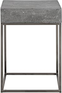 MY SWANKY HOME Modern Silver Concrete Top Accent Table | End Open Square Gray