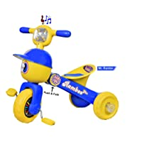 Goyal'S Mr. Rambo Baby Tricycle Ride-On Bicycle - Foldable Rider With Music & Lights (Blue)