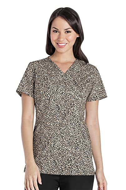 c02f2f930b0690 Amazon.com: Cherokee Women's Mock Wrap Animal Print Scrub Top Small Print:  Clothing