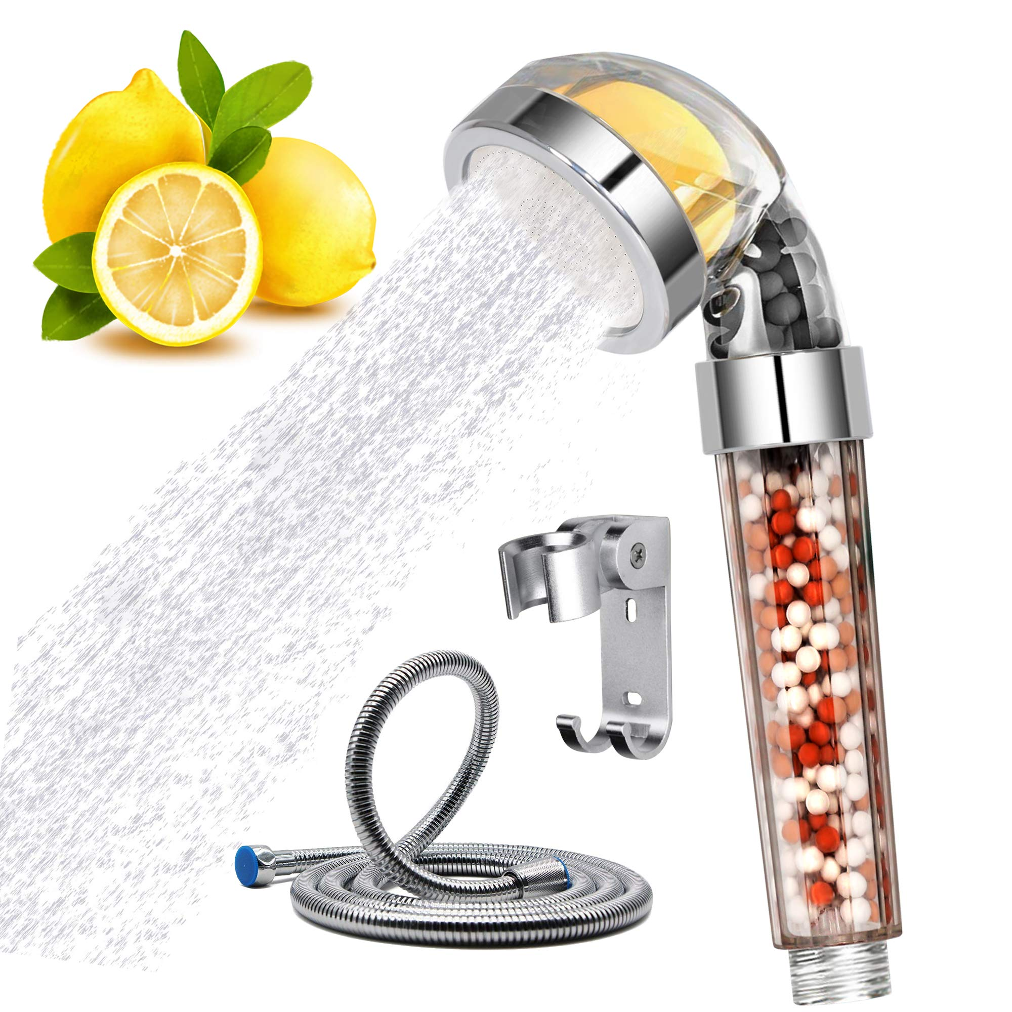 Aspior High Pressure Shower Head Rainfall Delta Handheld Shower Filter with Hose Full Vitamin C Chlorine Fluoride Removal Hard Water Softener Showhead Filters System Set(Silver,Transparent)