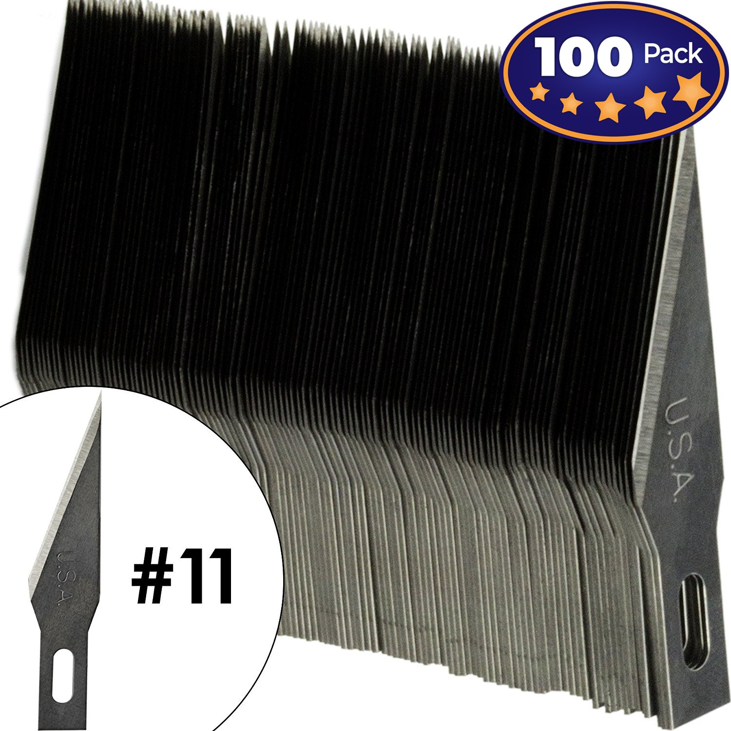 Premium USA-Made Steel Hobby Knife Blades Mega Bulk 100 Pack. Save Time and Shipping Costs! The Fine Point #11 Size Blade Universally Fits #1 Craft Knife Handles for Modeling and Papercraft Projects