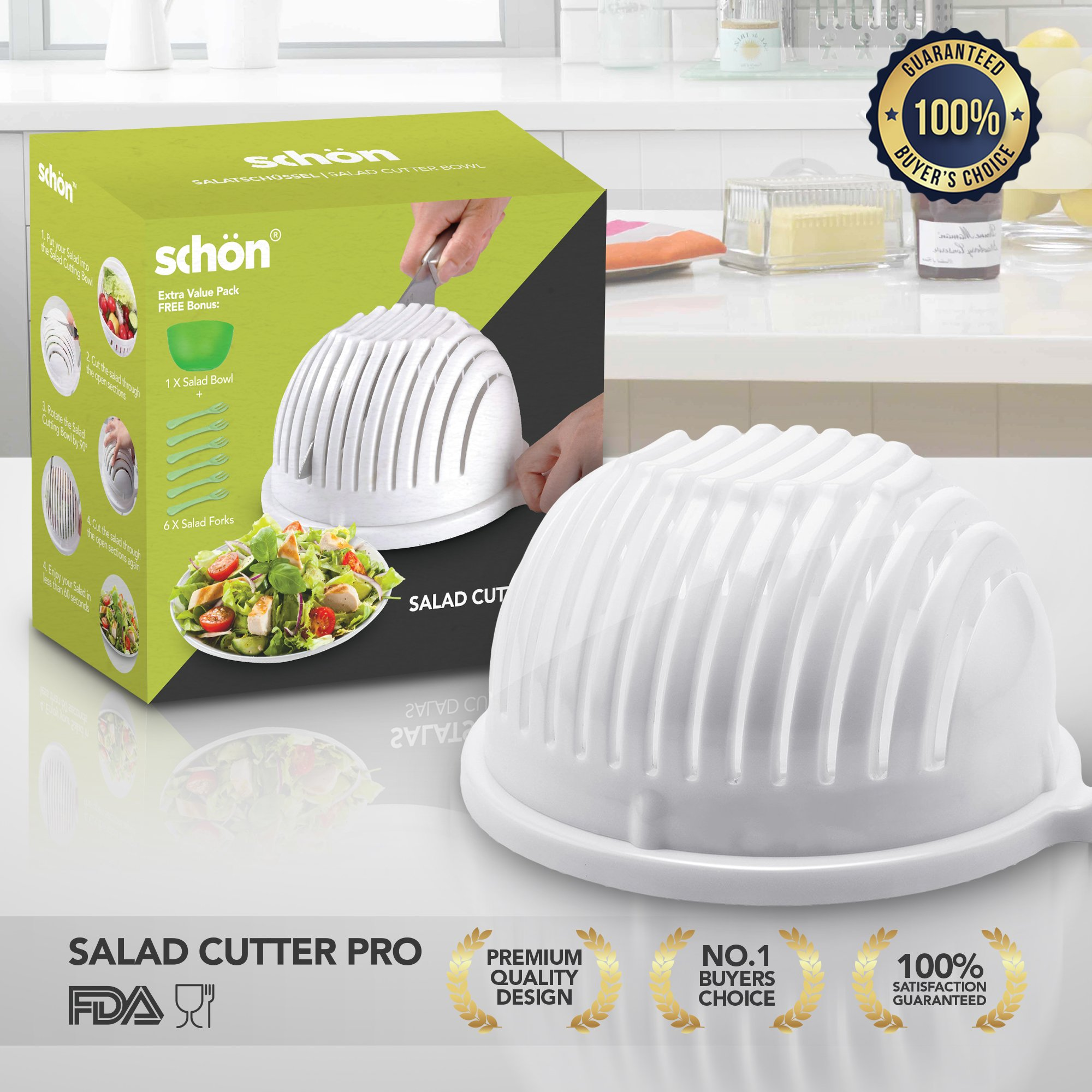 Salad Cutter Bowl Maker Cutter-Fast Fresh Salad Slicer, Salad Chopper and Fruit Vegetable Bowl