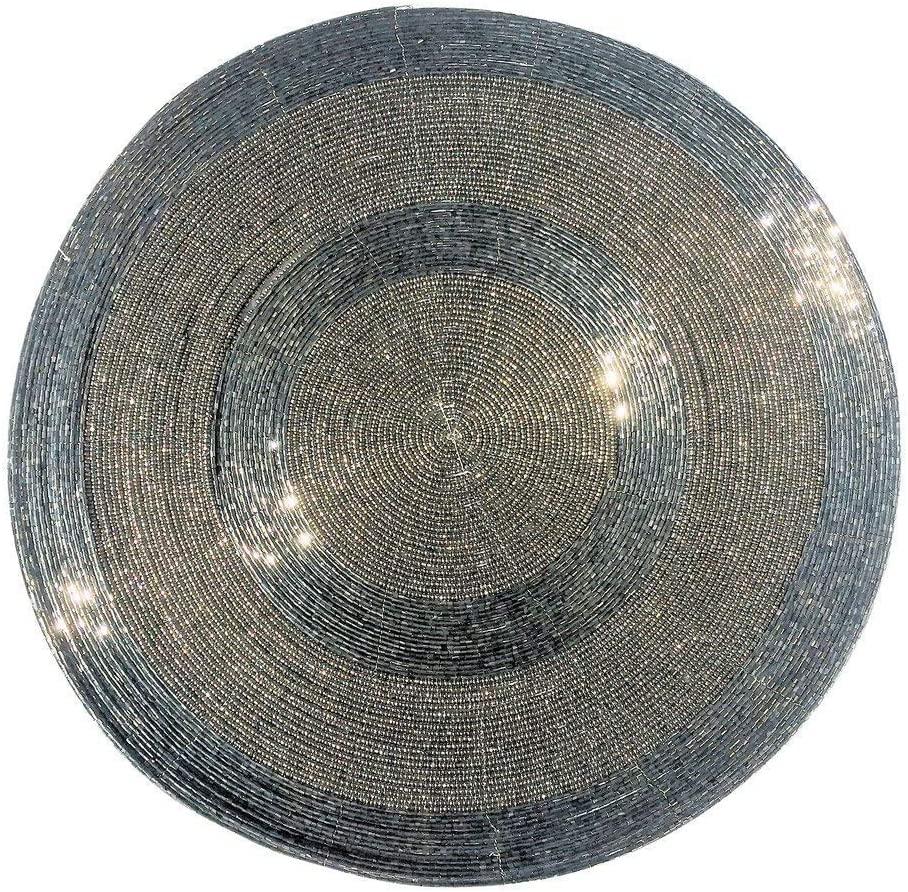 WHW Whole House Worlds Crosby Street Shimmer and Chic Round Silver Filigree Beaded Placemats, Set of 2, Wire, Glass, 13.75 Inches