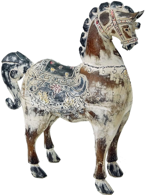 Guru-Shop Geschnitztes Pferd, Dekoobjekt, Balsaholz, 52x40x12 cm, Dekofiguren & Dekoobjekte