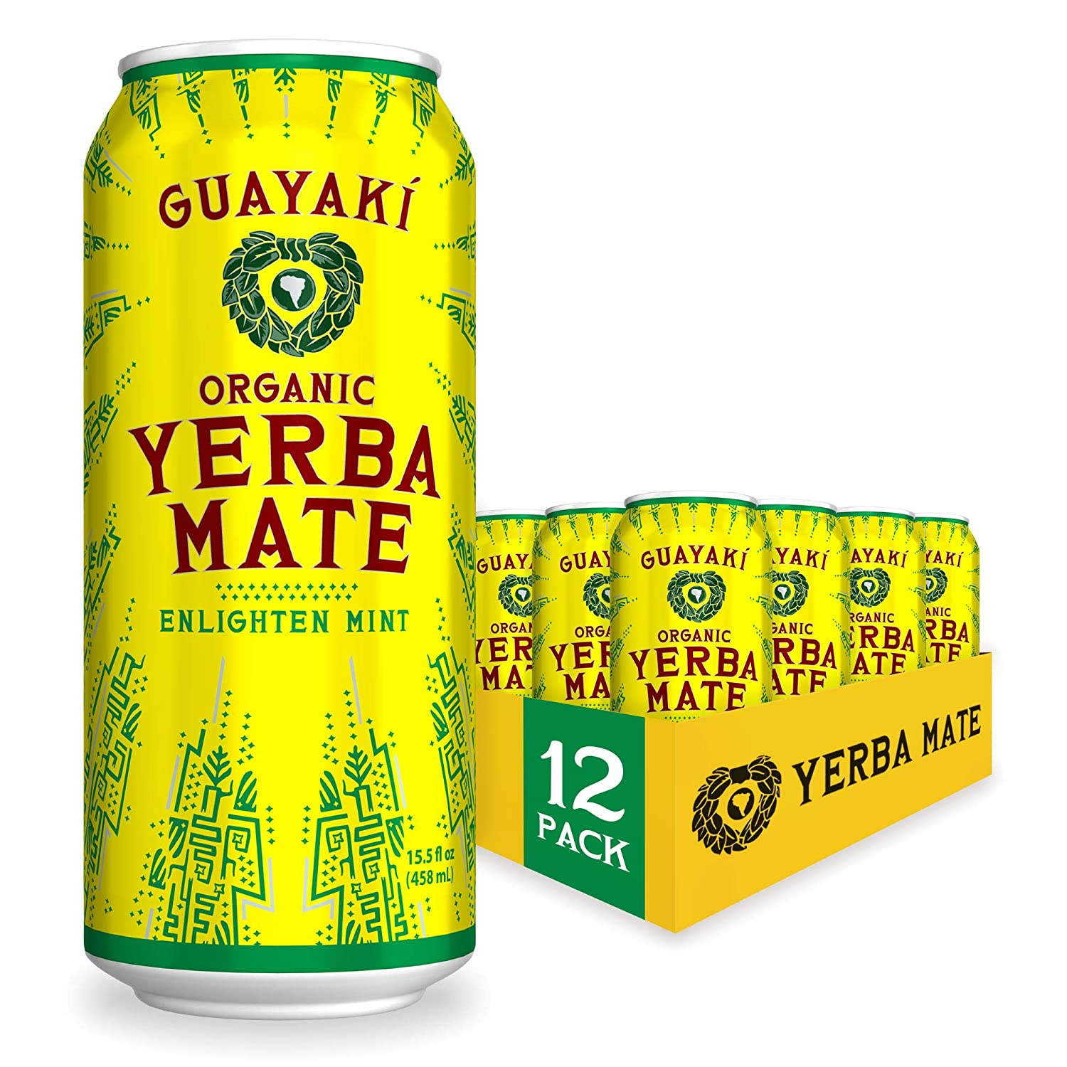 Guayaki Yerba Mate, Organic Drink, Enlighten Mint, 15.5 Ounce Cans (Pack of 12), 150mg Caffeine, Alternative to Coffee, Tea and Energy Drinks