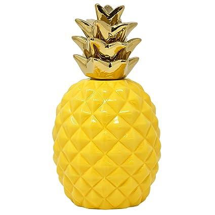 9u201d Elegant Ceramic Pineapple Centerpiece Decor Yellow With Gold Metallic  Crown Figurine Modern Coffee Desk