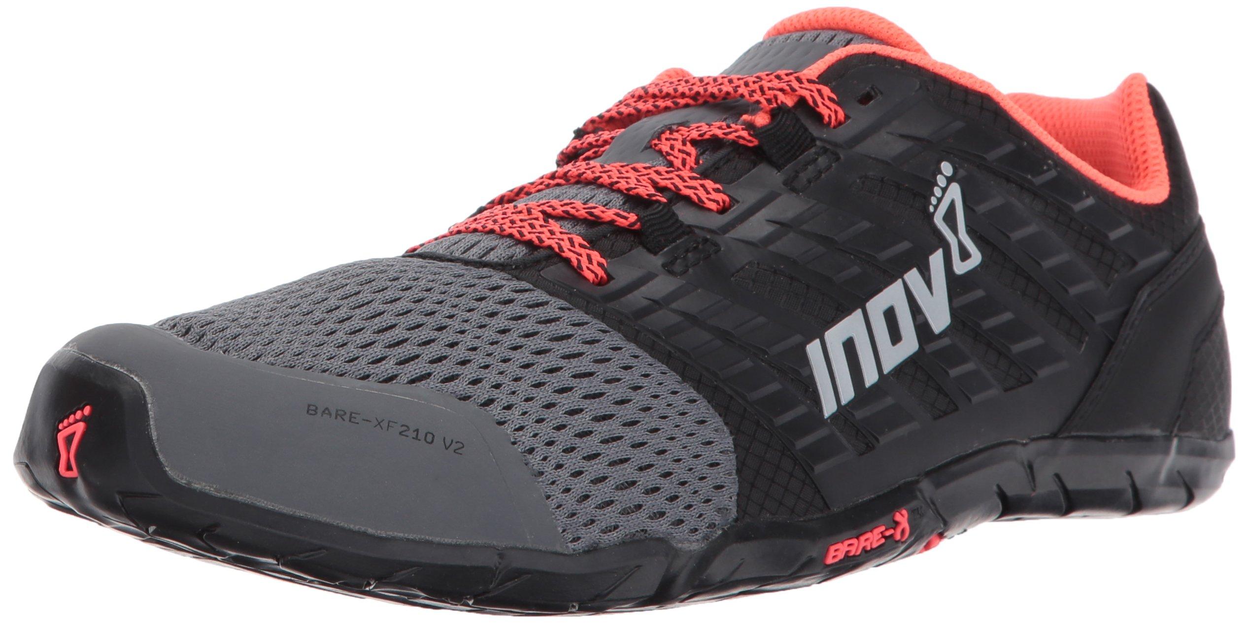 Inov-8 Women's Bare-XF 210 v2 (W) Cross Trainer, Grey/Black/Coral, 7.5 B US