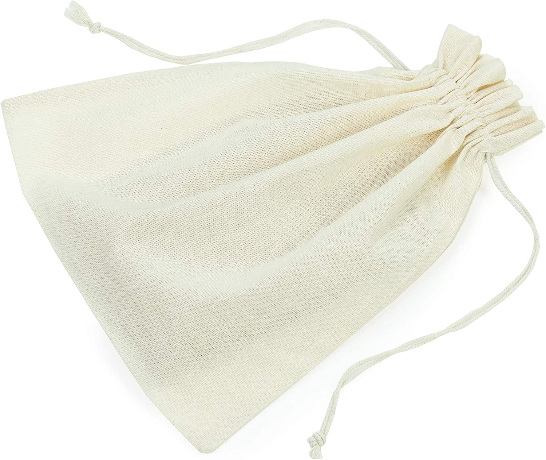 InfinitePack Cotton Drawstring DIY Craft Reusable Bag - Washable Produce Bags for Home, Food Storage with Drawstring - 10x12 Cotton Bag Biodegradable Gift Bag, Cloth Bag - 12 Pcs