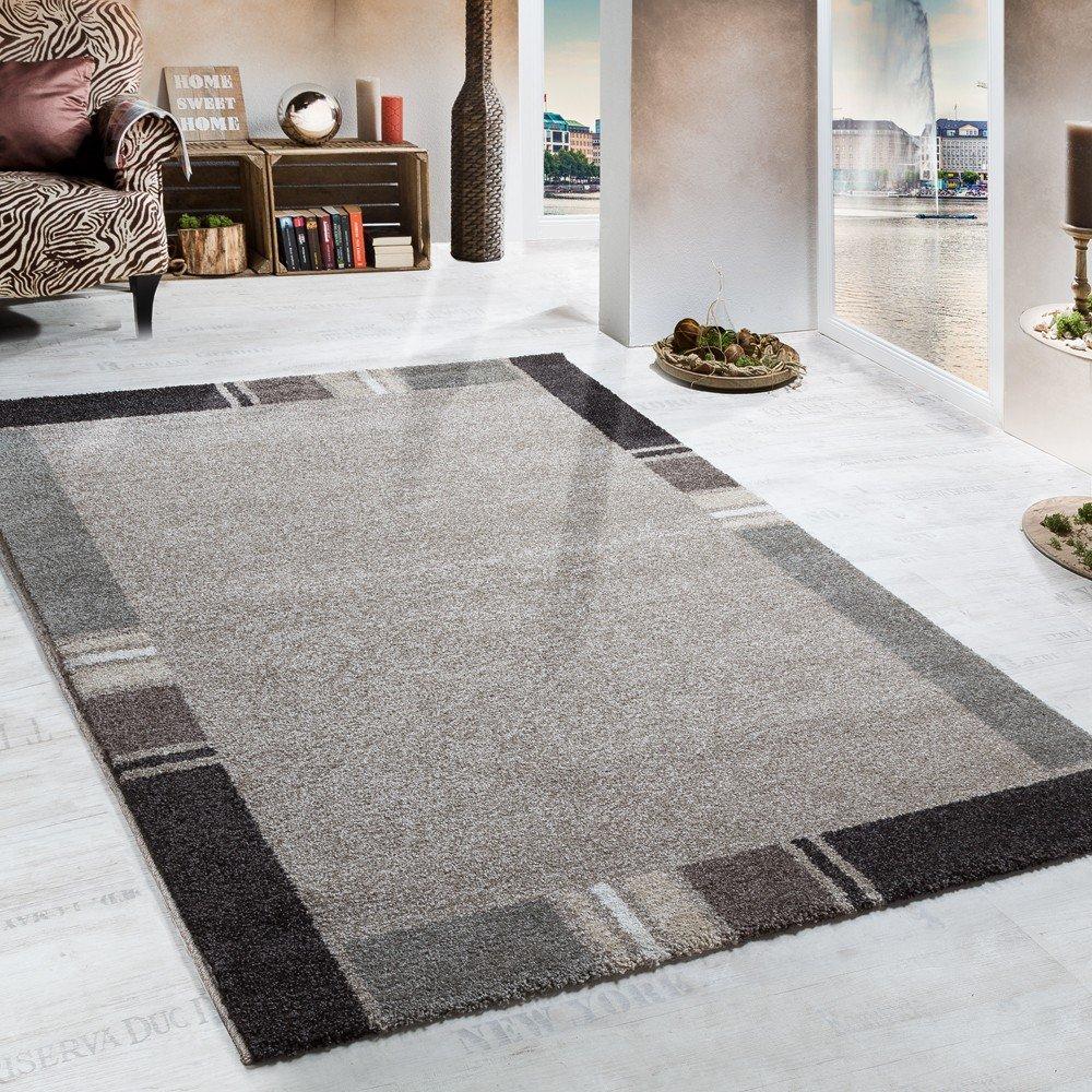 Paco Home Schwerer Webteppich Beige Brauntöne Bordüre, Grösse 60x110 cm