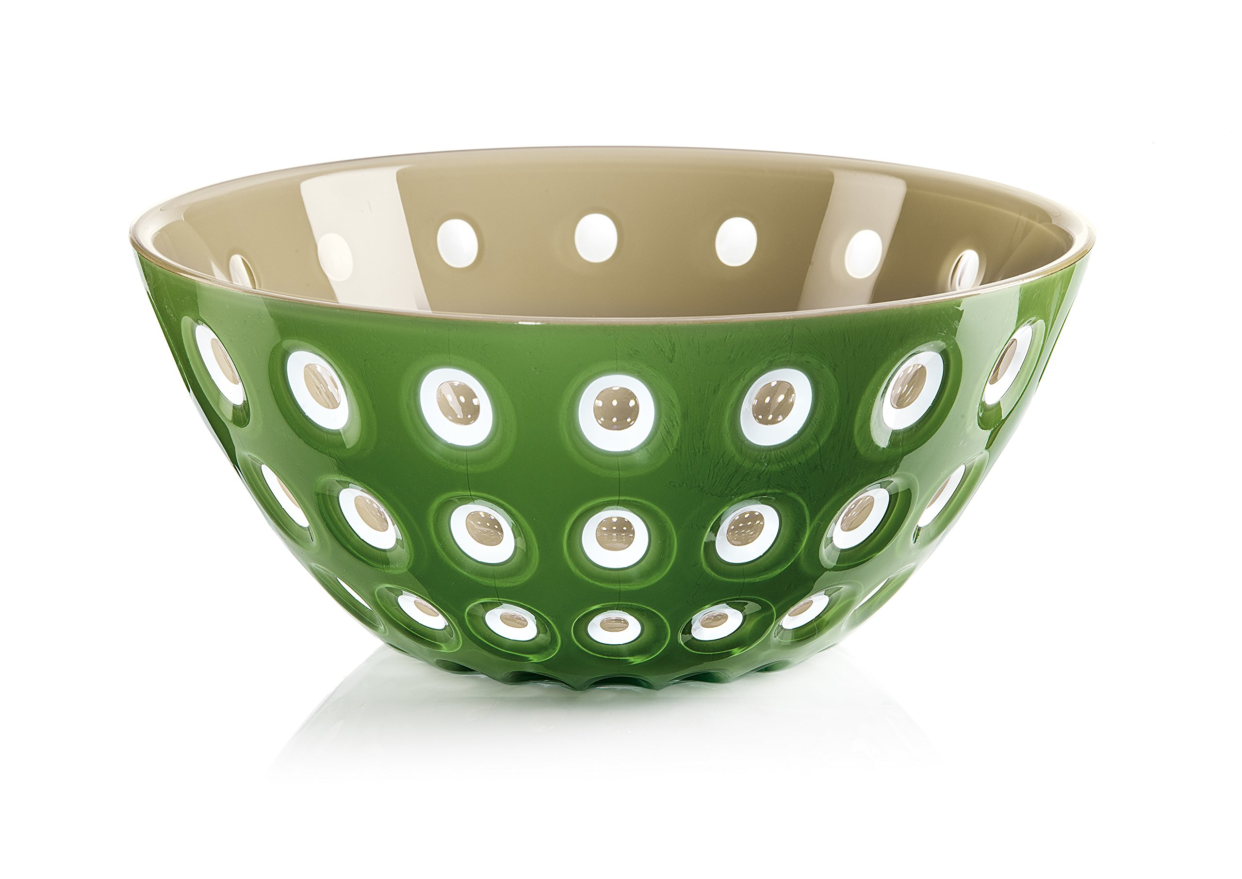 Guzzini Le Murrine Bowl, 9-3/4'' x 4-1/4'', Unique Serving Dish or Centerpiece, 91-Fluid Ounces, Made in Italy, Sand, White, Moss Green