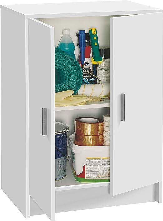 Habitdesign Armario Multiusos Bajo, 2 Puertas, Acabado en Color Blanco, Medidas: 59 cm (Ancho) x 80 cm (Alto) x 37 cm (Fondo)