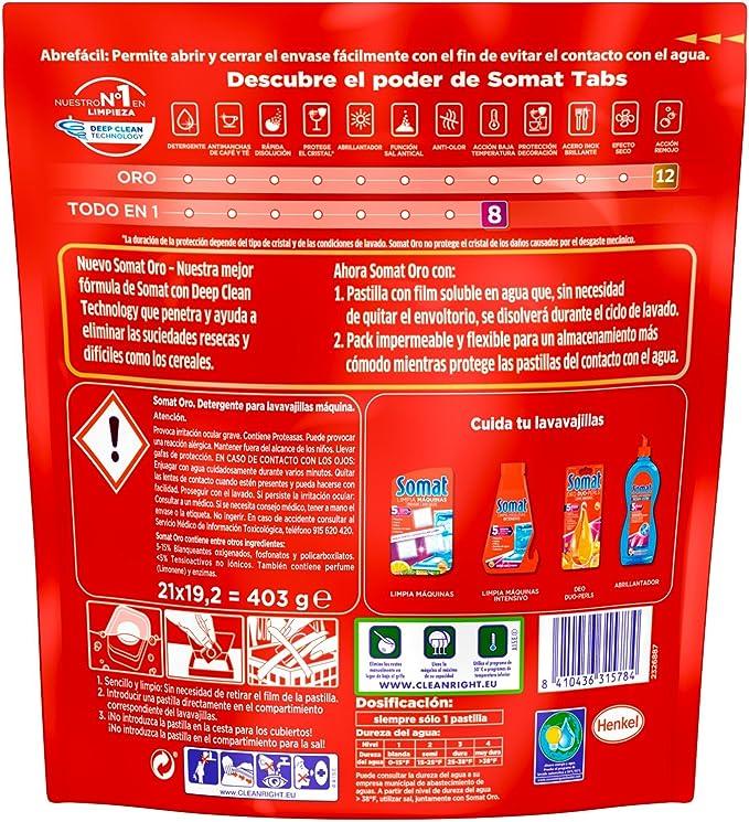 Somat Oro Cápsulas Detergente Pastillas Lavavajillas 18 + 3 Dosis ...