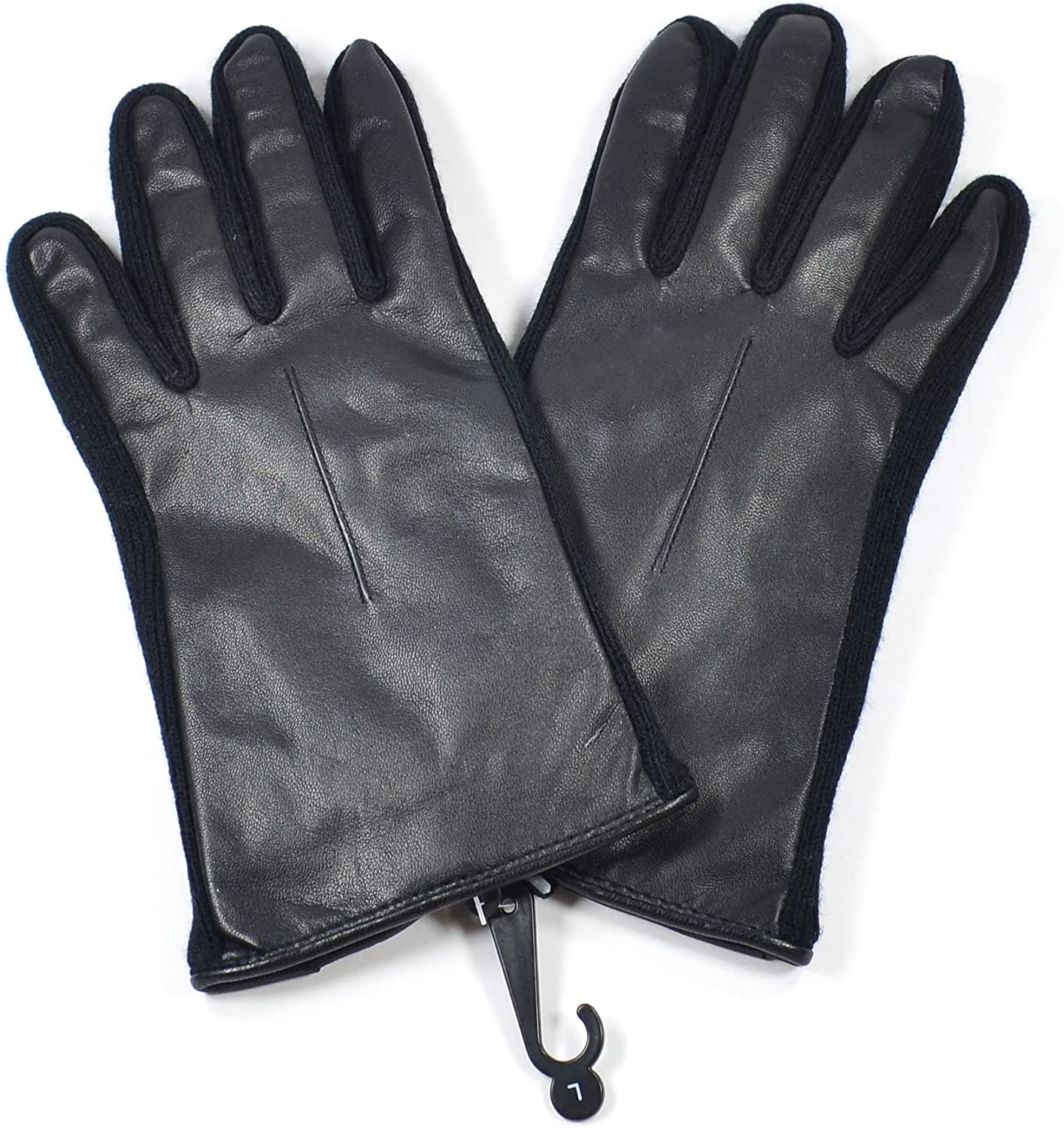 Croft /& Barrow Leather Winter Driving Gloves for Men L Black Knit Trim