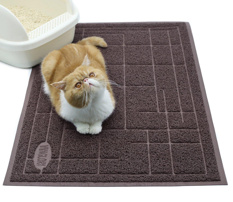 Large Coffee PHTHALATE /& BPA Free Vivaglory Cat Litter Mat 90x60CM Non-slip /& Waterproof Durable Litter Box Mat