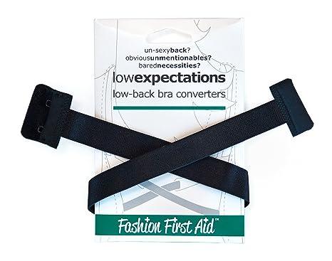45409fc5fb34 FASHION FIRST AID  Low Expectations BH-Verlängerung Rückenkonverter  Erweiterung Tiefer BH-Verschluss Rückenfrei Schwarz Extra Lang  Amazon.de   Bekleidung