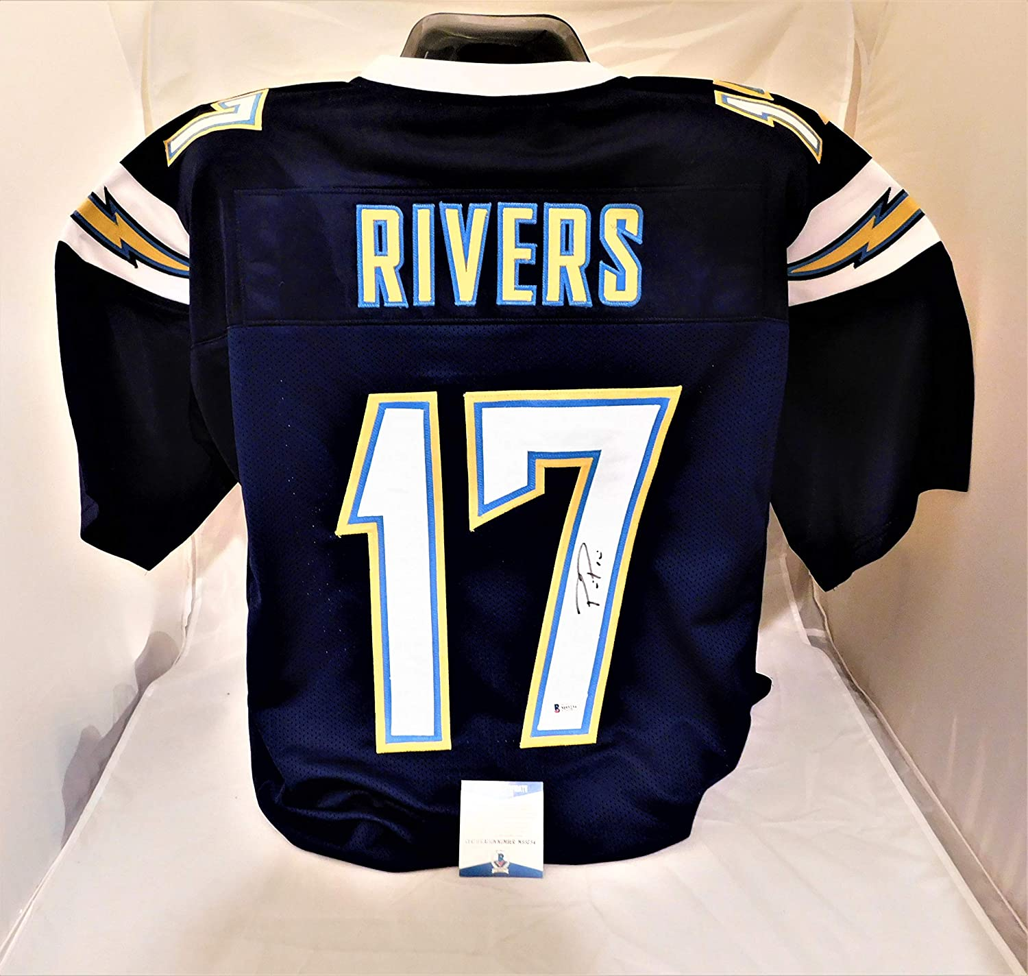 56a006abdbb Amazon.com  PHILLIP RIVERS Signed Autographed Chargers Authentic Style Blue  Jersey Beckett Witnessed COA  Sports Collectibles