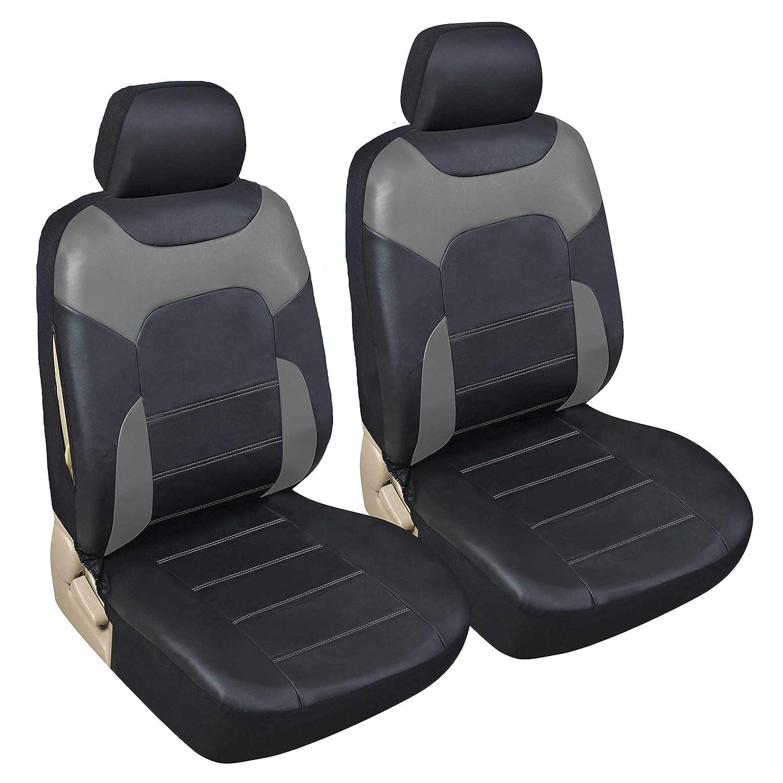 Accessori Auto Interno Set Copri-Sedile Universale per Guidatore e Passeggero con Airbag Laterali upgrade4cars Coprisedili Anteriori Auto Universali Eco-Pelle Nero Beige