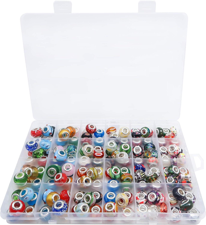 150 perlas de cristal de plata de 14 x 10,5 mm para hacer charms, pulseras, collares