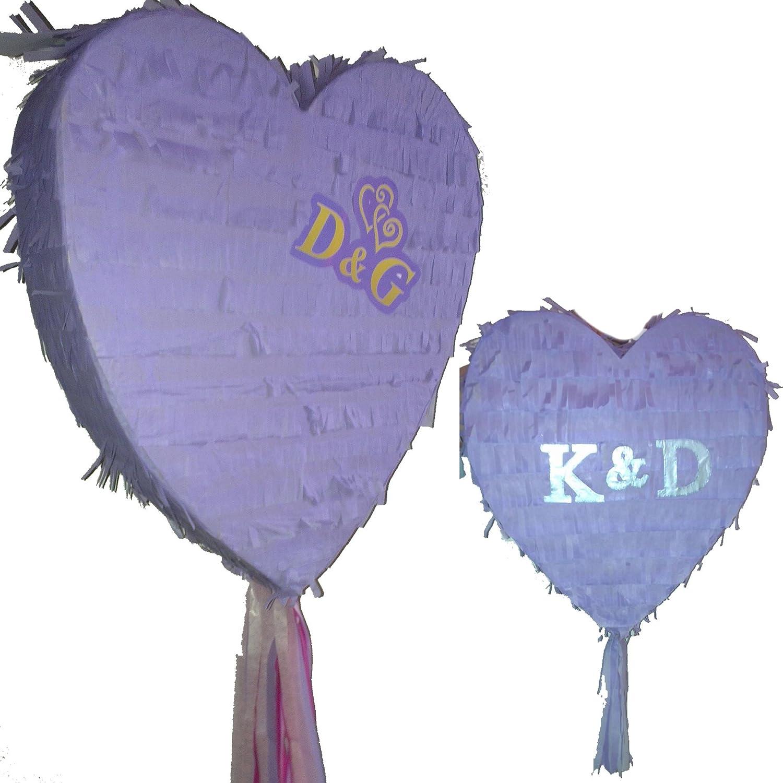 Boogie Woogie Pinatas Dark Purple Heart Pinata set for Wedding Engagement Prom or Birthday Party