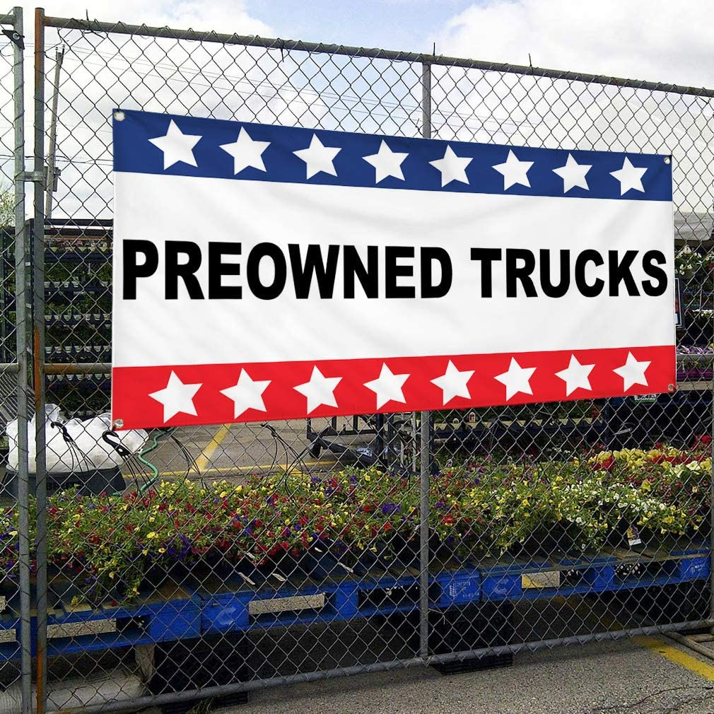 Vinyl Banner Multiple Sizes Preowned Trucks Auto Car Vehicle Automotive Outdoor Weatherproof Industrial Yard Signs White 10 Grommets 60x144Inches