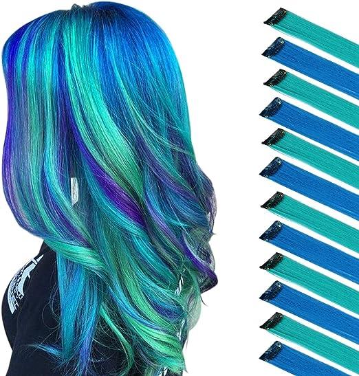FESHFEN Extensión de cabello de color,Verde azulado Azul para Niñas Princess Party Highlight Extensiones de Cabello Liso y Colorido Clip en Disfraces ...