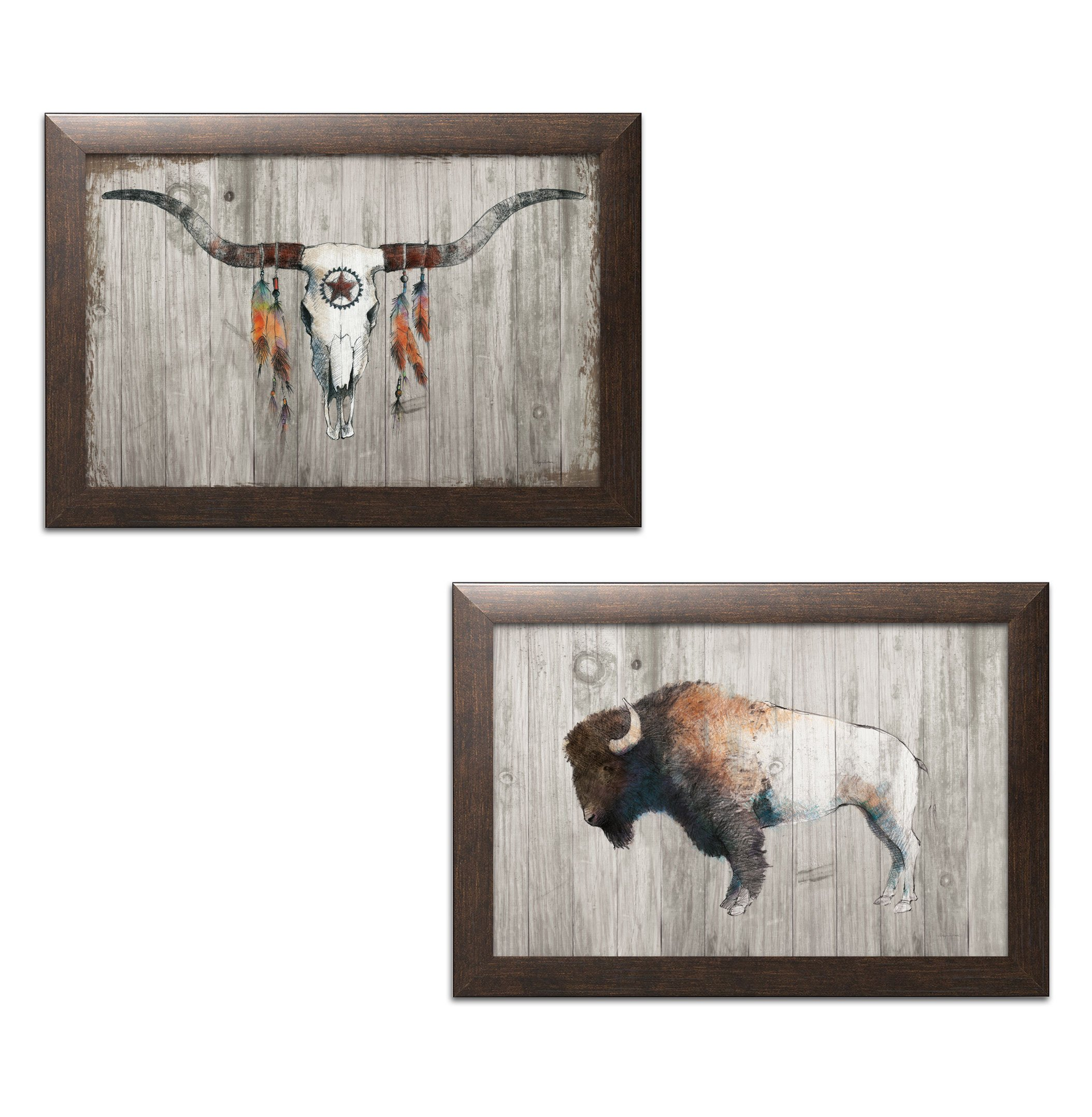 Gango Home Decor Southwestern Colorful Bison Dark Brown on Wood & Longhorn on Dark Gray Wood by Avery Tillmon (Ready to Hang); Two 18x12in Brown Framed Prints