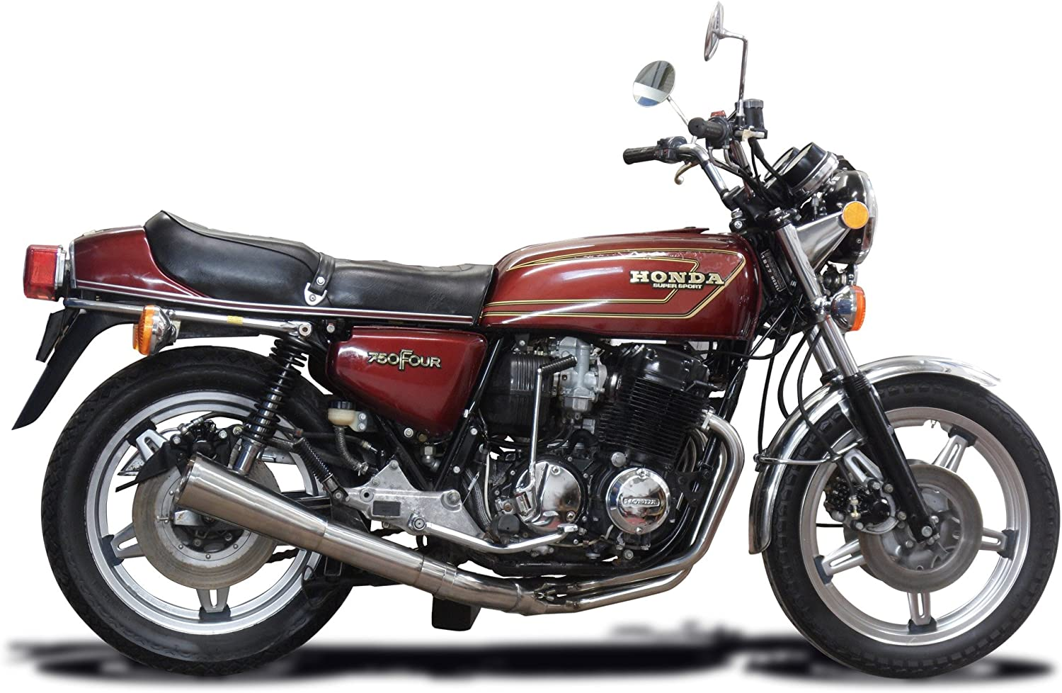 Delkevic Aftermarket Complete System compatible with Honda CB900F with Classic Straight Universal Muffler and Stainless Steel 4-1 Headers 1981-1982