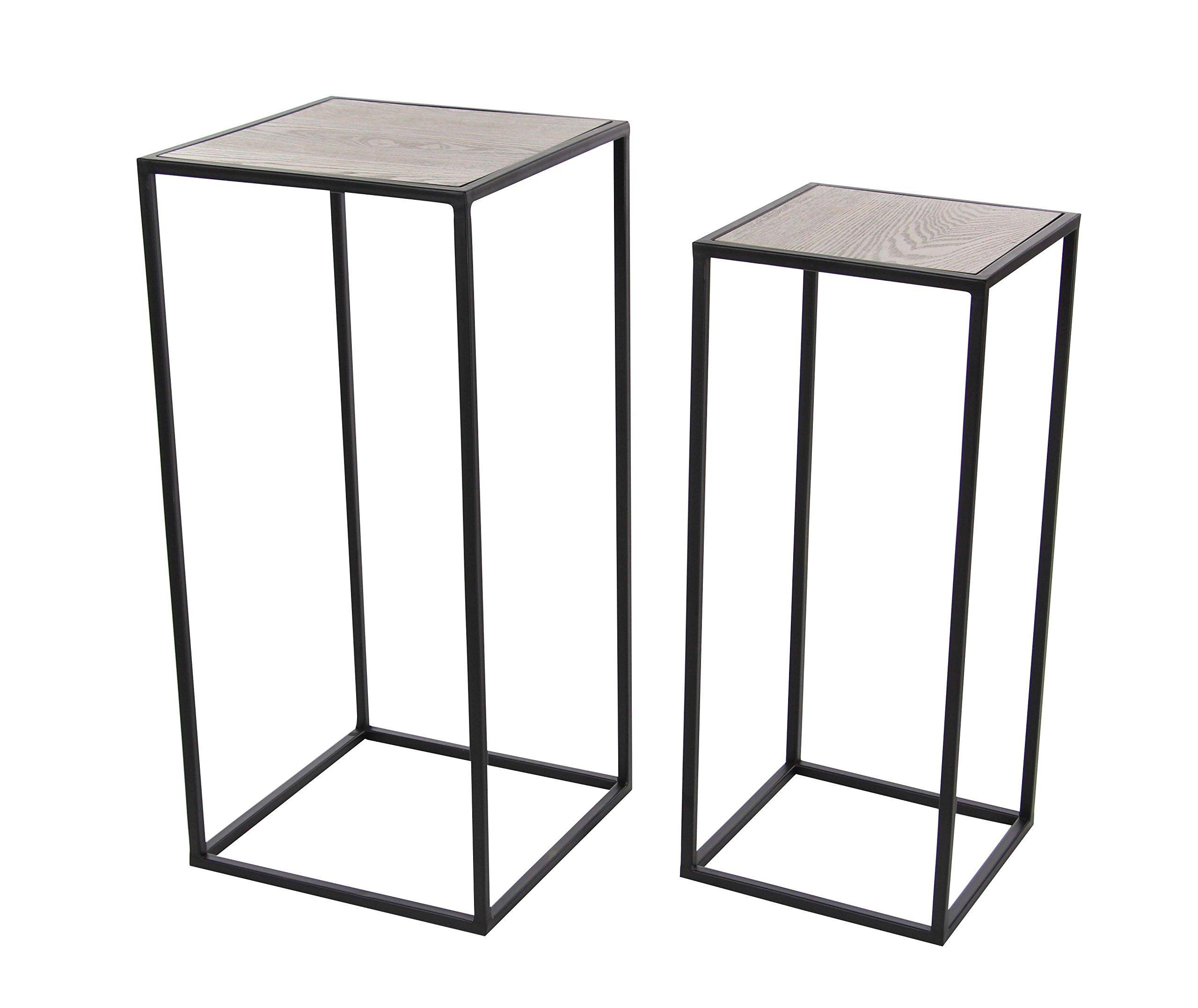 Deco 79 65624 Metal and Wood Square Pedestal Set of 2, 25'' x 28''