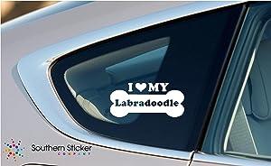 I Love My Labradoodle Dog Bone Puppy Symbol White Vinyl Car Sticker Symbol Silhouette Keypad Track Pad Decal Laptop Skin Ipad Macbook Window Truck Motorcycle