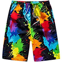 YIJIAJIA Mens Swim Shorts,5 inch Bathing Suit Shorts Drawstring Beach Pants Swim Trunks with Compression Liner Quick Dry
