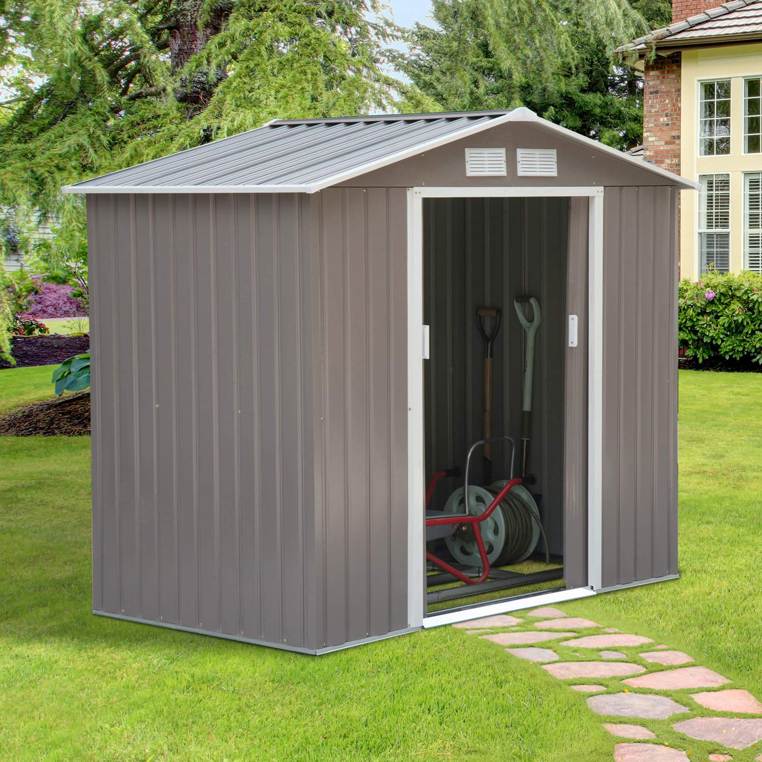 7ft x 4ft, Grey Outsunny Lockable Garden Shed Large Patio Roofed Tool Metal Storage Building Foundation Sheds Box Outdoor Furniture