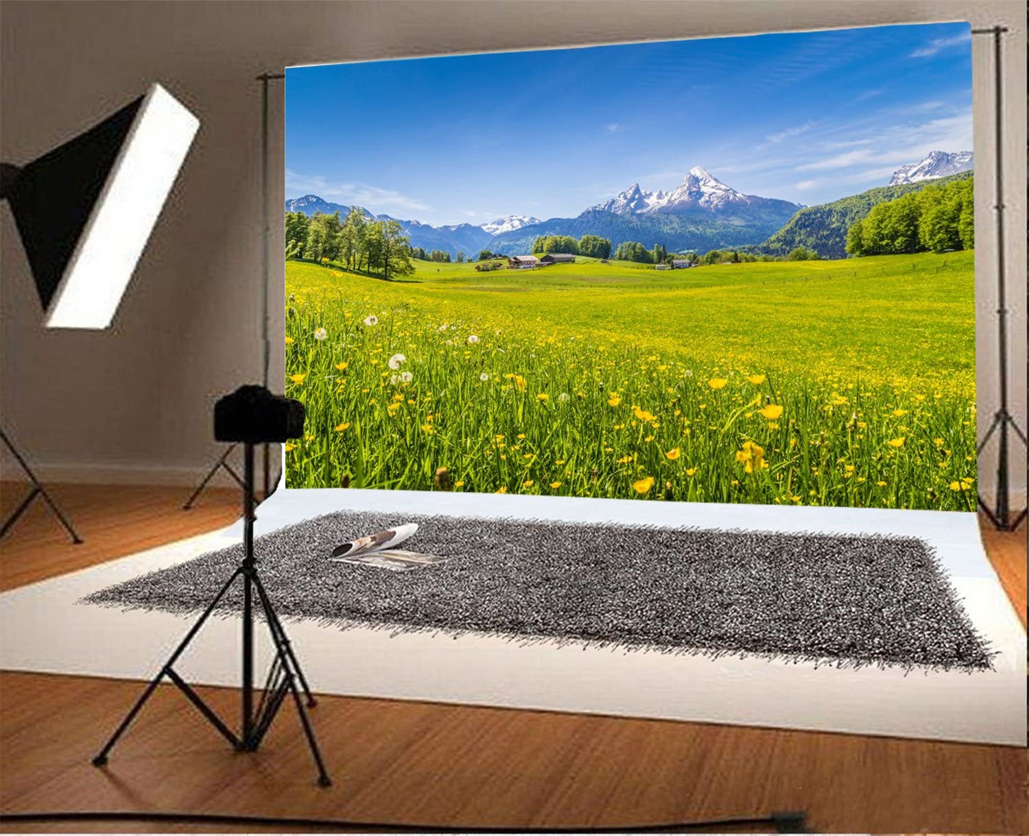 Laeacco 7x5FT Vinyl Backdrop Photography Alps Landscape Background Rural Countryside Grassland Meadow Flowers and Green Pasture Scenery Backdrop Outdoors Photo Background Adult Children Portrait