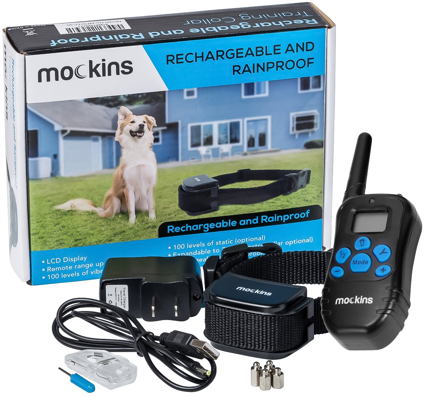 Mockins 100% Rainproof Rechargeable Electronic Remote Dog Training Shock Collar Beep Vibration - E-Collar 330 Yards (990 ft) Distance … … … … … … …