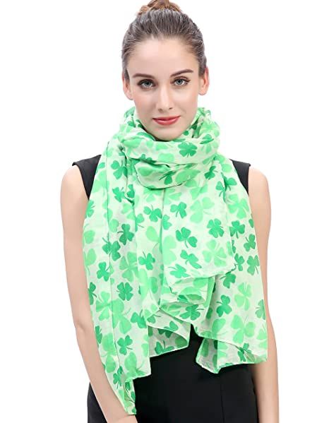 4a8ff7c44 Lina & Lily Clover Shamrock Print Women's Scarf St Patrick Day  (Green/White) at Amazon Women's Clothing store: