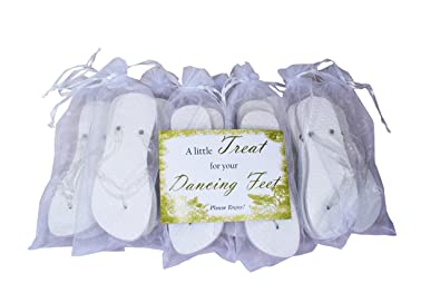 ff15b0ef67229 MODO White Heart Glitter Strap Flip Flop 10 Pack Bundle All in Organza Bags  Ideal for