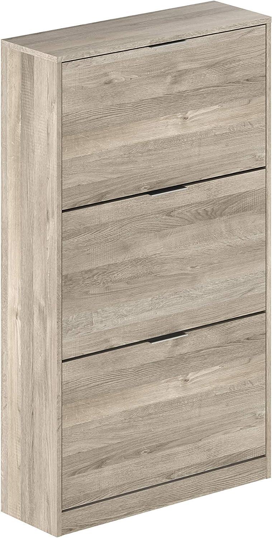 Marca Amazon -Movian Inari Modern - Armario zapatero de 3 puertas, 25 x 75 x 128 cm (Efecto Roble)