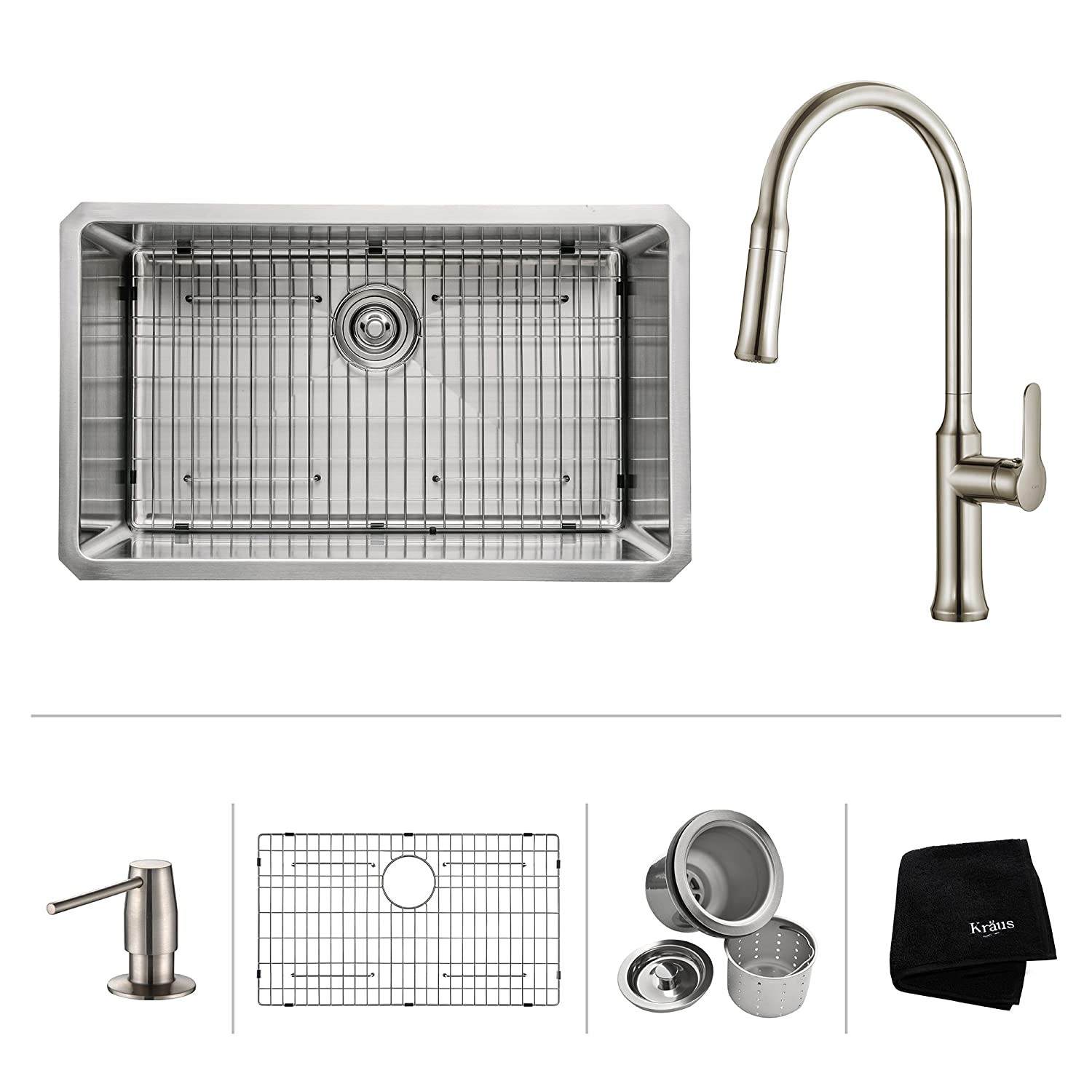"""Kraus KHU100-30-1630-42SS Modern Undermount Single Bowl Sink with Pull Down Faucet, 30"""", SD Stainless Steel"""