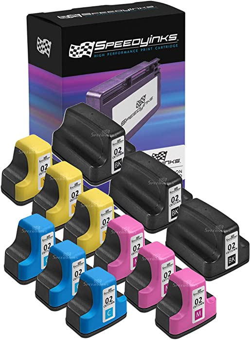 Speedy Inks Remanufactured Ink Cartridges Replacement for HP 02 (3 Black, 3 Cyan, 3 Magenta, 3 Yellow, 12-Pack)