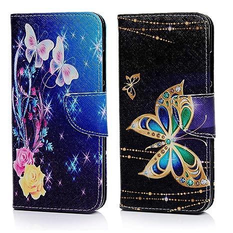 MUSESHOP 2 x Funda Xiaomi Redmi Note 7, Pintado Carcasa Libro de Cuero con Tapa y Cartera, Carcasa PU Leather con TPU Silicona Case Interna Suave - ...