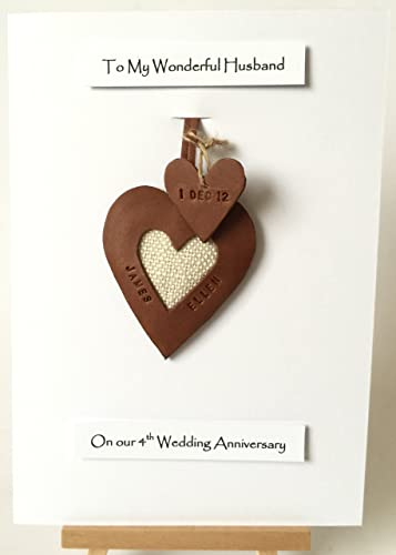 Amazon Com 3rd 4th Wedding Anniversary Card Handmade Personalised Leather Heart Gift Made In Uk Handmade