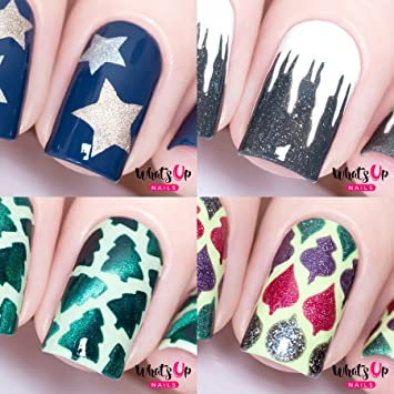 Whats Up Nails - Christmas Nail Vinyl Stencils 4 pack (Northern Star,  Icicles, Forest, Christmas